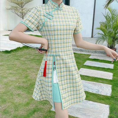 中国风改良旗袍女2020夏季新款复古格子显瘦小个子日常优雅连衣裙