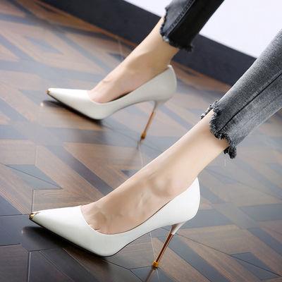 性感拼色金属尖头2020春季新款名媛宴会超高跟鞋细跟温柔鞋女单鞋