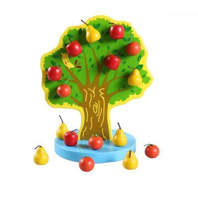 磁性圣诞树苹果树玩具智力玩具儿童认知玩具木制快乐果园