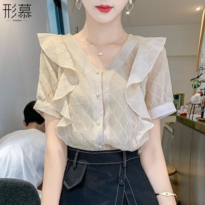 夏季短袖雪纺衬衫春装女装夏装2020年新款潮很仙的上衣服新品超仙
