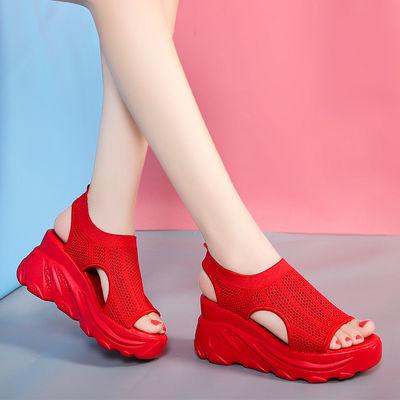 凉鞋女2020年夏季新款运动中跟坡跟松糕厚底学生百搭休闲平底女鞋
