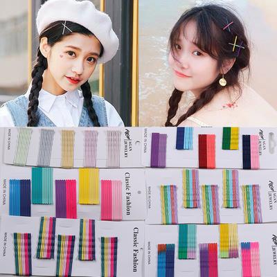 彩色一字夹网红同款糖果色少女发夹刘海夹时尚清新韩国饰品发夹