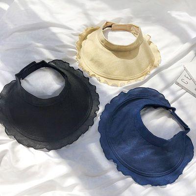 帽子女夏日系清新防晒遮阳帽韩版百搭空顶帽ins出游可折叠太阳帽