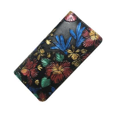 新品【特价】钱包女欧美长款拉链复古压花手拿包大容量女手包手机