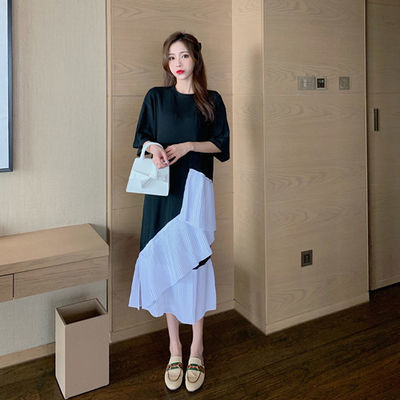 连衣裙2020新款女夏下摆不规则拼接开叉宽松显瘦韩版短袖ins裙子