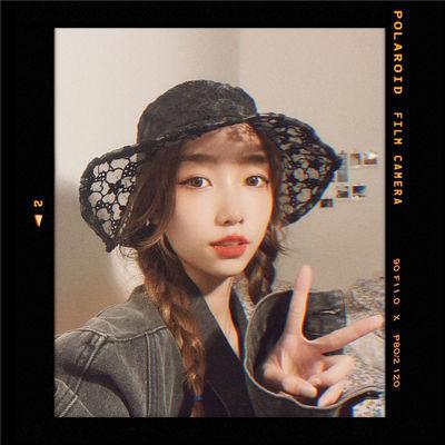 实拍特价9.8A1# 韩国鬼马系少女花朵渔夫帽ins镂空透气遮阳帽