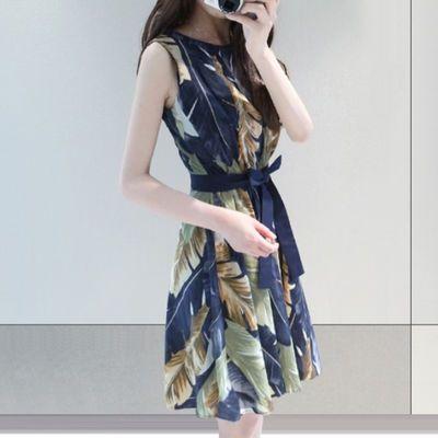 【瑞丽坊】2020修身显瘦连衣裙夏中裙修身显瘦无袖棉麻连衣裙