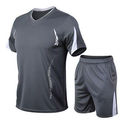 短袖短裤t恤男夏季男装运动健身训练透气速干休闲运动服套装男