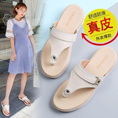 真皮拖鞋女夏季外穿学生韩版新款时尚女士中跟夹脚沙滩防滑人字拖