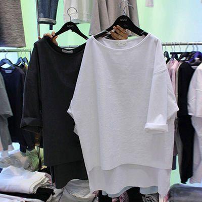 【限时亏本冲量】夏装2019新款韩版新款学生宽松白色t恤女中长款