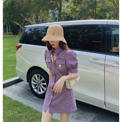 2020夏气质女神范紫色修身牛仔连衣裙收腰显瘦泡泡袖小个子淑女裙