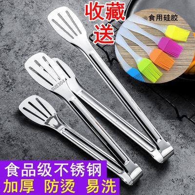 不锈钢食品夹面包夹防烫烧烤夹子加厚三线夹牛排夹耐高温烘焙用具