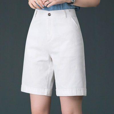 夏季西装五分裤女宽松直筒裤大码休闲裤白色高腰短裤5分裤子薄款