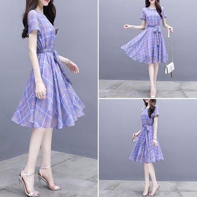 【淑女范】夏新款韩版显瘦系带收腰a字裙中长款气质雪纺连衣裙女