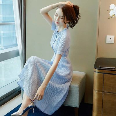 【杭州品牌】连衣裙女中长款2020新款时尚韩版修身显瘦条纹A字裙