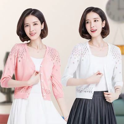 针织衫女冰丝开衫短款韩版宽松外搭小披肩外套女夏季空调衫防晒衫