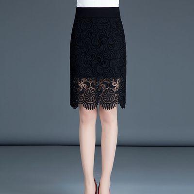 蕾丝包臀短裙半身裙中长款秋季新款高腰包裙大码a字一步裙子女夏