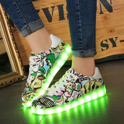 春夏季有灯鞋男学生usb充电七彩亮灯鞋女发光鬼步舞夜场夜荧光鞋
