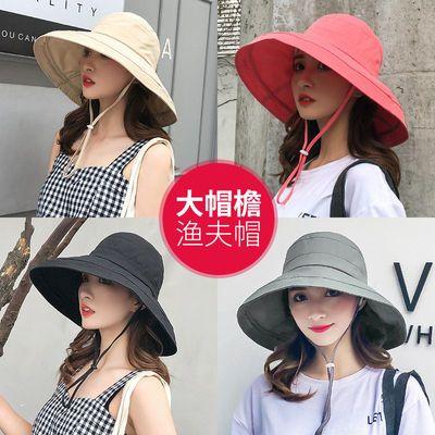 帽子女士夏天大沿遮阳渔夫帽韩版时尚百搭户外出游沙滩防晒太阳帽