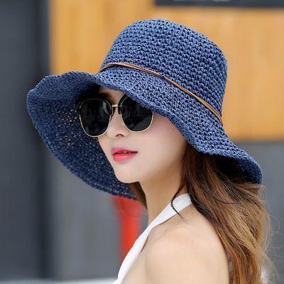 沙滩帽子女士夏天夏季遮阳帽防晒渔夫太阳草帽韩版百搭海边出游潮