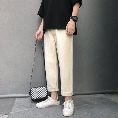 米白色休闲裤男宽松韩版潮流牛仔直筒坠感长裤男生百搭卡其色裤子