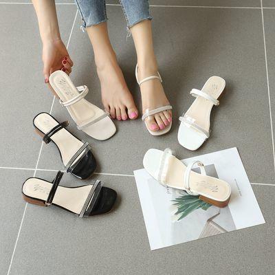 凉拖鞋女外穿时尚女士拖鞋新款透明拖鞋女中跟粗跟凉鞋拖鞋两穿女