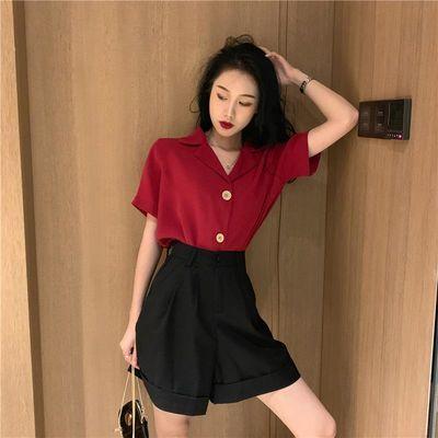 复古西装领翻领宽松简约短袖衬衣女休闲阔腿裤短裤套装潮