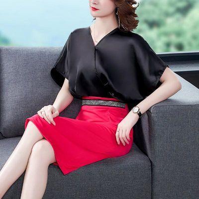 实拍 假两件连衣裙女短袖夏装轻熟风气质名媛V领收腰拼接包臀裙