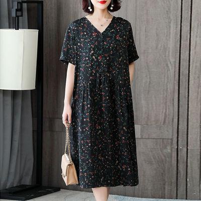 大码妈妈连衣裙女2020夏季新款女装胖mm遮肚子宽松显瘦高端裙子女