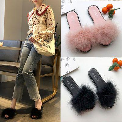 大码毛毛拖鞋女外穿时尚百搭网红2020韩版夏季新款粗跟中跟女士凉