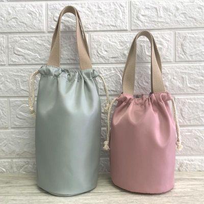 简约纯色焖烧杯袋防水便当包手提袋便携圆形饭盒袋学生便当袋日式