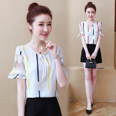 实拍碎花雪纺衫女2020新款韩版甜美洋气修身蕾丝上衣夏季短袖小衫
