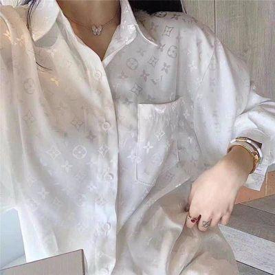 欧洲站满身印花长袖绸缎白衬衫女设计感小众气质上衣宽松百搭衫衣