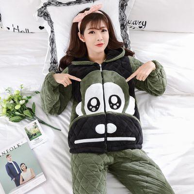 睡衣女冬季三层加厚加绒夹棉珊瑚绒连帽套装韩版可爱贝贝绒家居服