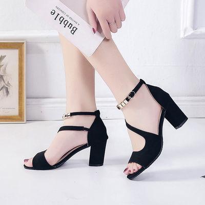 凉鞋女2020夏季新款一字扣罗马粗跟韩版高跟鞋性感鱼嘴鞋后包跟鞋