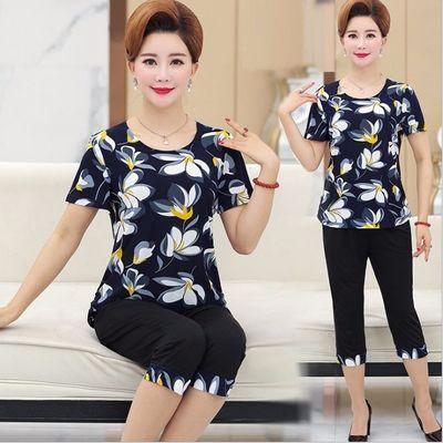 妈妈装夏装套装40-60岁中老年短袖上衣精品女装T恤宽松大码两件套