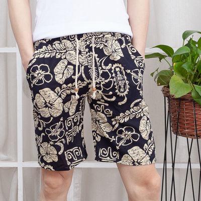 休闲短裤男夏季亚麻沙滩裤运动薄款五分裤大裤衩子大码宽松花裤衩