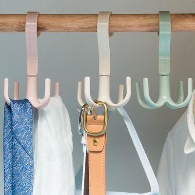 收纳领带挂包神器衣帽晒鞋钩北欧风创意多功能旋转四爪挂钩衣柜