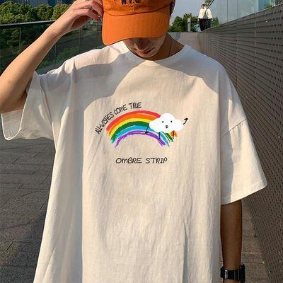 100%纯棉男装潮牌短袖T恤男士韩版潮流宽松半袖彩虹印花5分袖体恤