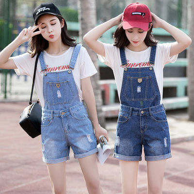 夏季牛仔背带裤套装女短裤2020夏装新款韩版宽松减龄吊带裤