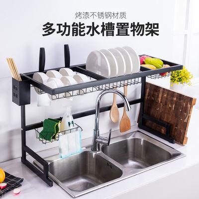 艾诺森加厚厨房水槽置物架黑色不锈钢碗盘架砧板刀架碗筷子收纳架
