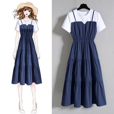 大码女装时尚吊带假两件长裙2020夏季胖妹妹收腰显瘦短袖连衣裙女