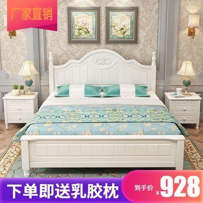 实木床1.8米欧式白色公主床单人床田园风格公主床1.5米双人床婚床