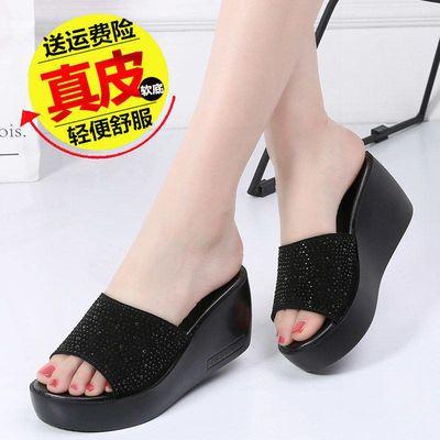 新款真皮拖鞋女增高夏季新款坡跟松糕厚底一字拖女韩版高跟凉拖鞋