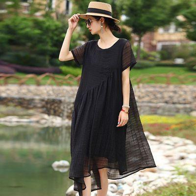 洛凡诗胖mm长款连衣裙女2020夏季新款黑色加肥加大码遮肉显瘦裙子