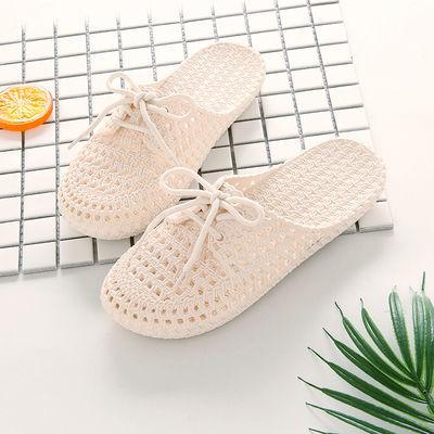 底洞洞鞋沙滩鞋新款小白鞋夏季女士系带包头凉拖鞋镂空时尚外穿软