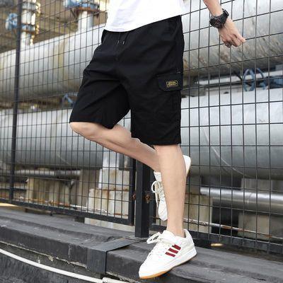 夏季五分工装短裤男士宽松余文乐潮牌薄款直筒黑色韩版休闲中裤子
