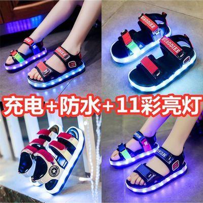防水USB充电儿童发光鞋男女童带灯凉鞋led宝宝亮灯鞋闪光鞋夜光鞋