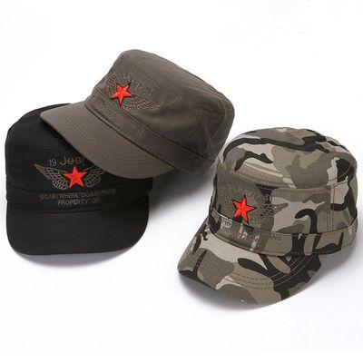 帽子男士夏季平顶帽迷彩刺绣五角星鸭舌帽春秋户外遮阳防晒棒球帽