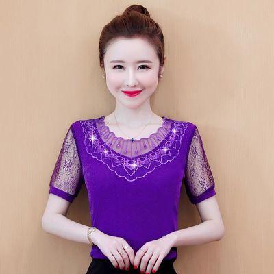 雷丝衫女装短袖网纱上衣夏季新款洋气时尚小衫宽松遮肚显瘦蕾丝衫